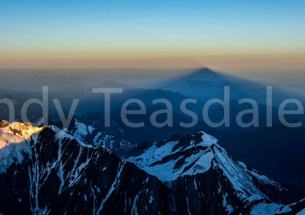 The shadow of Mont Blanc at sunrise