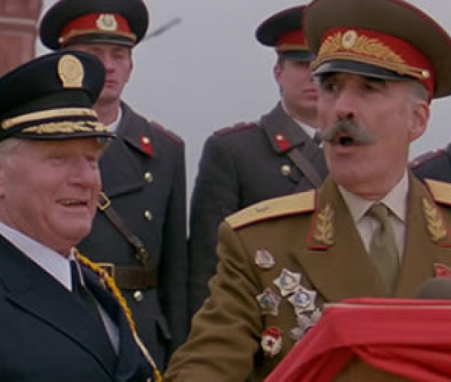 George Gaynes And Christopher Lee In Police Academy Mission To Moscow