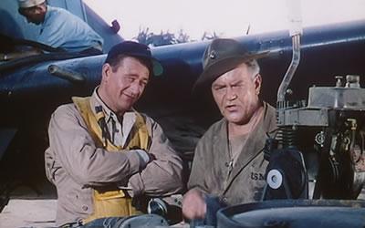 John Wayne And Jay C Flippen In Flying Leathernecks 1951