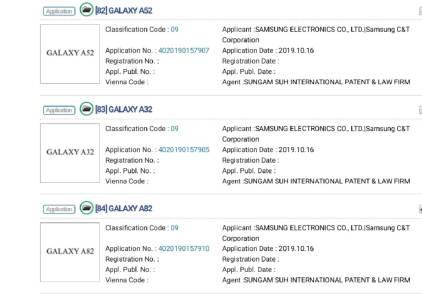 Samsung Galaxy A52, A32, A82