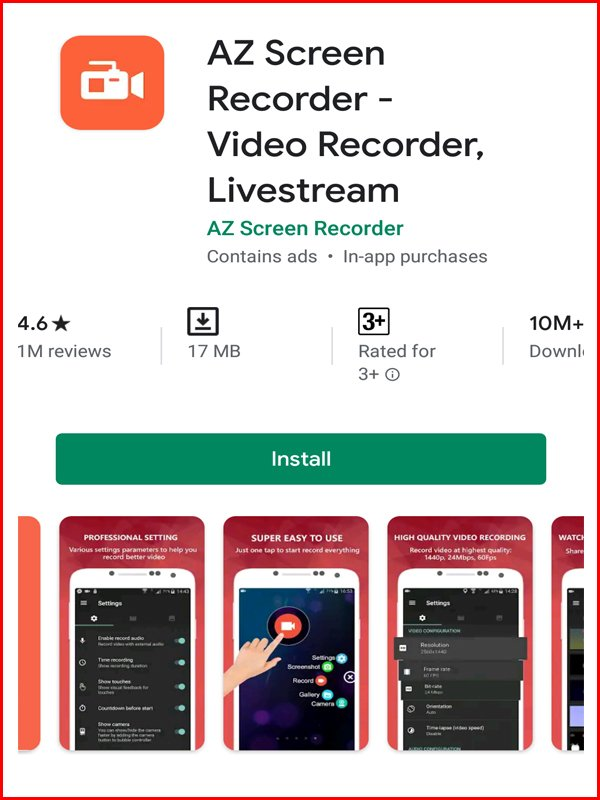 AZ android screen recording apps
