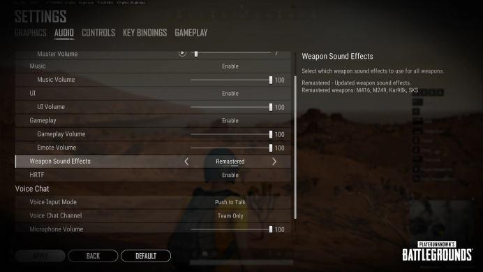 Pubg PC update 10.3 WeaponSoundSelection