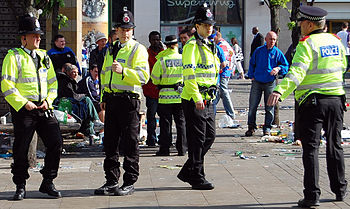Greater Manchester Police officers in Piccadil...