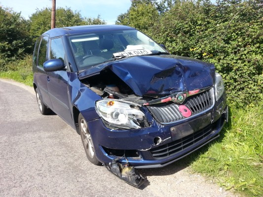 my blue car after the car crash