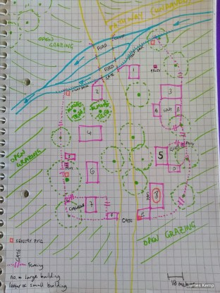 A diagram of the village in First Mission ANDR