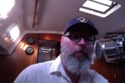 Bradford Rogers recording podcast aboard Jacie Sails