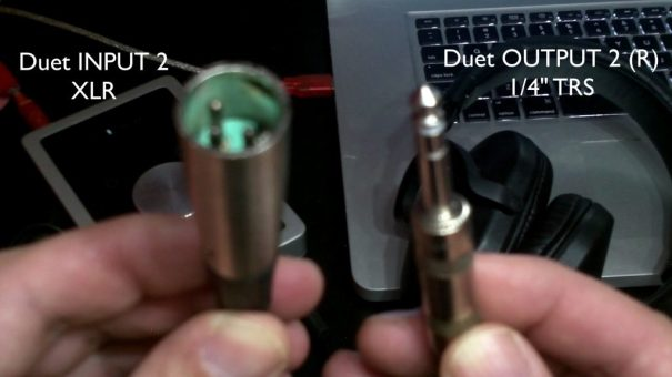 The TRS male adapter cable, and what you plug it into on the Apogee Duet.