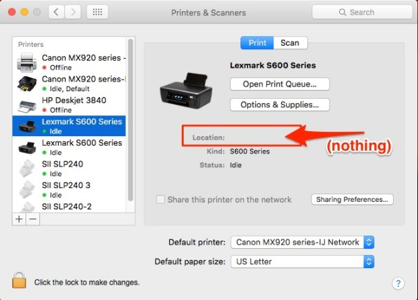 Lexmark Printer Install in Mac Printers and Scanners Dialog