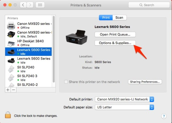 Lexmark Printer in Mac Printers and Scanners window, highlighting Options & Supplies