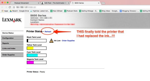 Lexmark s600 series printer web page, where you can Refresh the printer's understanding of the ink levels...!