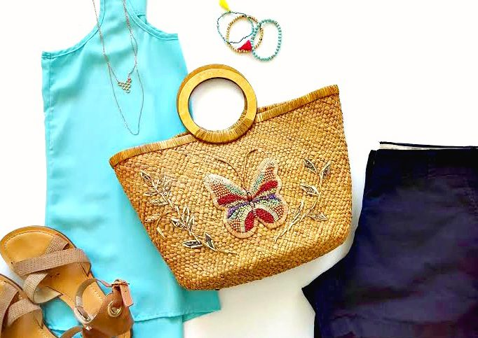 butterfly straw bag
