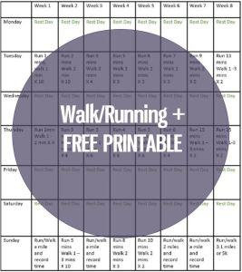 walk/running free printable
