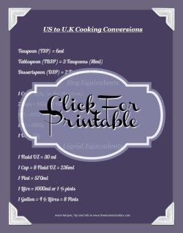U.K to US Cooking Conversions printable