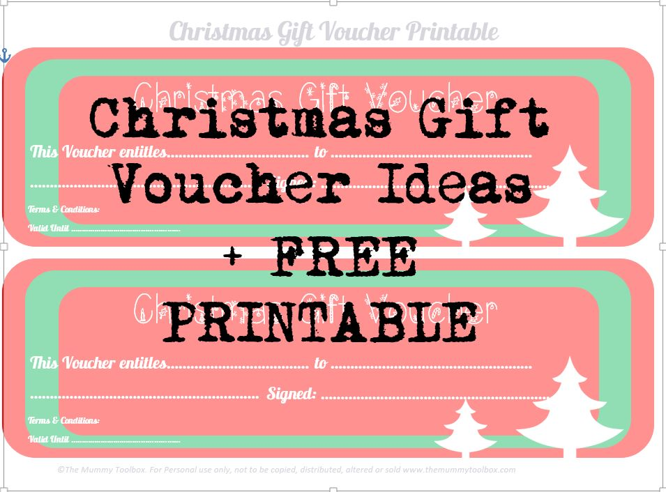 The Mummy Toolbox  Printable Christmas Gift Certificate