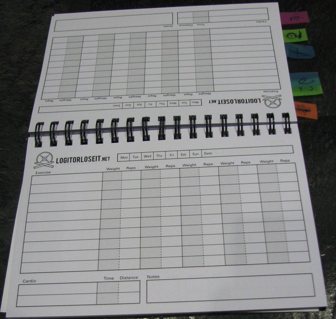 My Log it or Lose it book makes it easier for me to track workouts, sets and reps