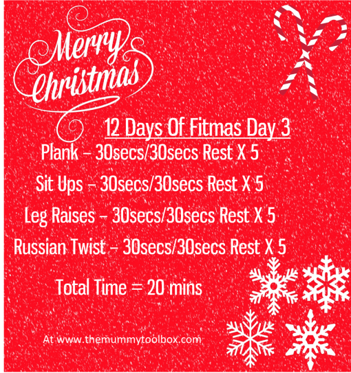 The 12 Days of fitmas - Day 3 - repeat image of above text workout
