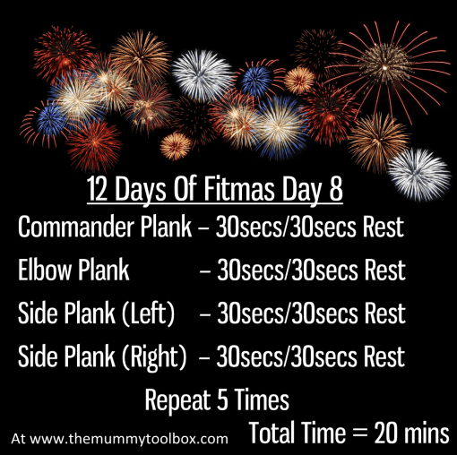 The 12 Days of Fitmas - Day 8 repeat of above text workout on a firework background