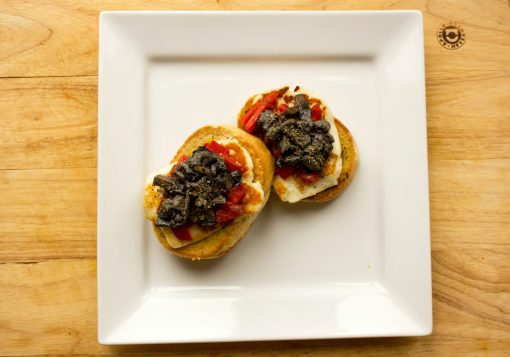 Mushroom, Haloumi and Roasted Red Pepper Bruschetta