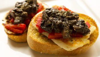 Mushroom, Halloumi & Roasted Red Pepper Bruchetta
