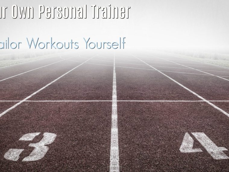 running track going off into foggy distance with text overlay - be your own personal trainer and tailor workouts yourself