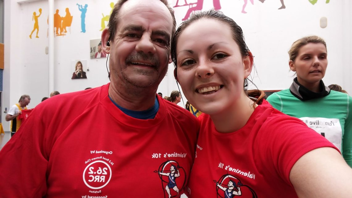 Dad and I at the finish! - sweating a bit
