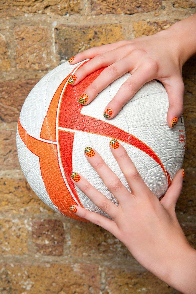 Tangerine dream by Sophy Robson for England Netball netball nail art