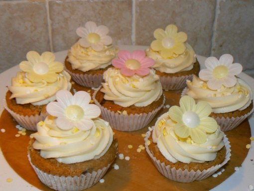Vegan, Gluten Free Carrot Cupcakes with cream cheese frosting by The Peachicks Bakery