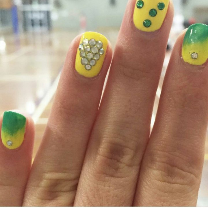 aussie diamonds inspired nails by gormay netball nail art