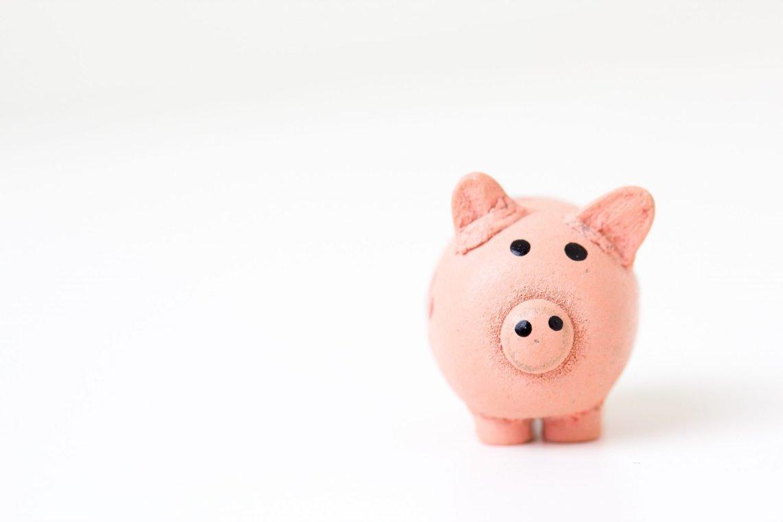 piggy bank on plain background