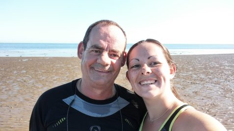 Should you exercise on holiday? - Dad and I running on the beach