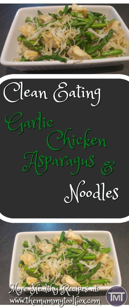 Clean Eating garlic, chicken and asparagus noodles, perfect meal prep idea with minimal clean up. Really quick and easy!