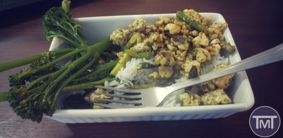 Pesto turkey and asparagus meal finished