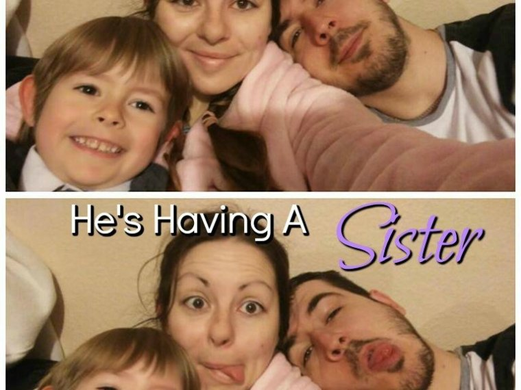 telling the toddler he's having a sister feature
