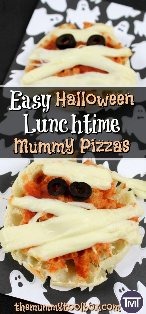 These mummy pizzas are a fun and quirky Halloween party snack or lunch that are easy to make, delicious and the kids can help too! #Halloween #food