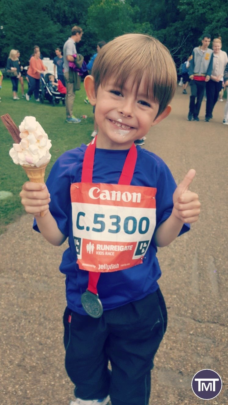 post kids race ice cream thumbs up