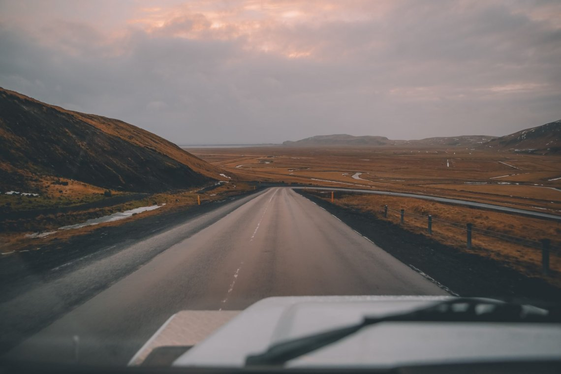 open road looking into the sunset