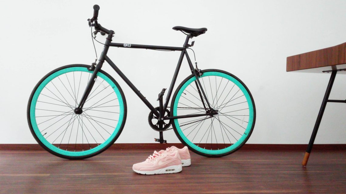 trainers next to bike in hallway fitness tracker printables