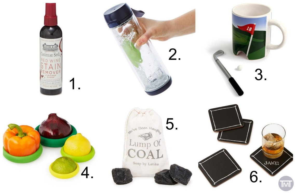 collage of the 6 product items of unique gifts and stocking fillers listed below