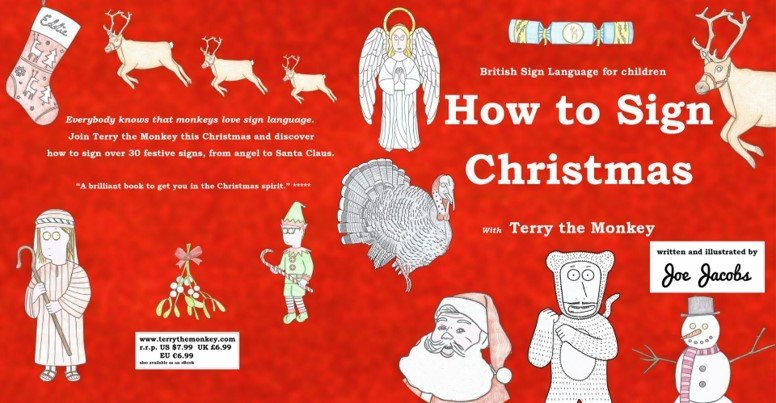 red how to sign Christmas book front cover for learning Christmas sign language
