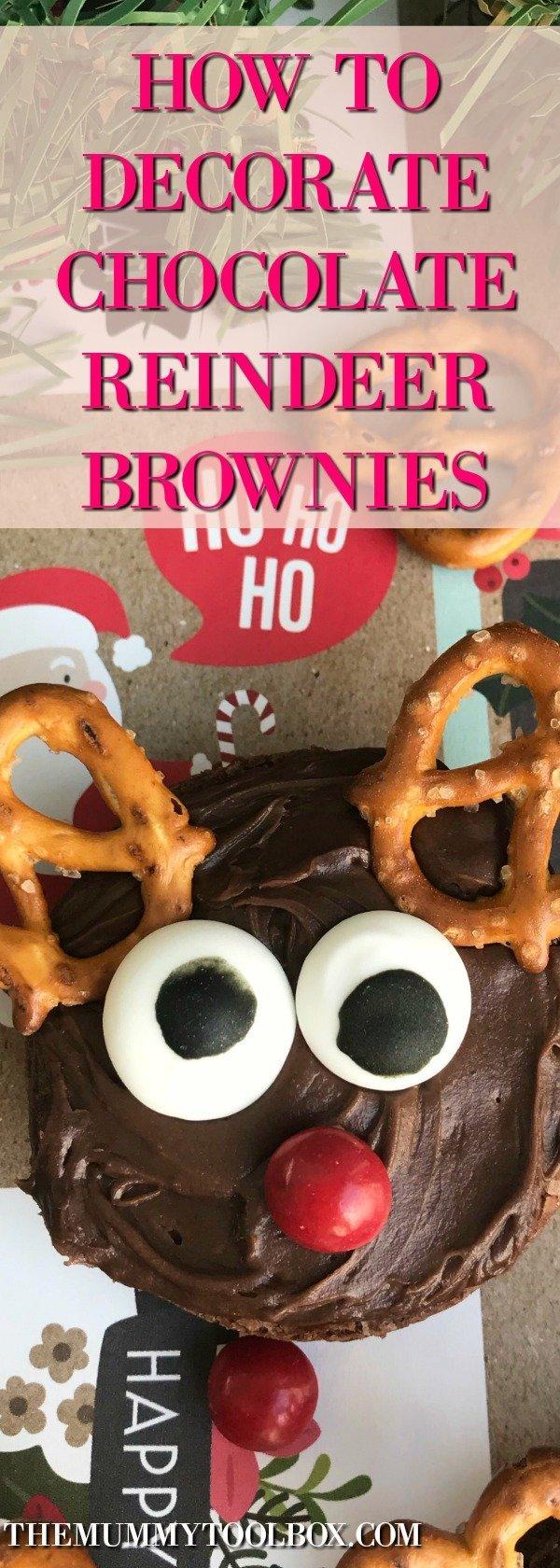 decorating reindeer brownies for festive fun with the kids. #christmasfood #christmas #treats #kidsactivities