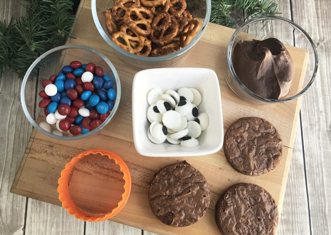 reindeer brownie ingredients out on the chopping board with white background
