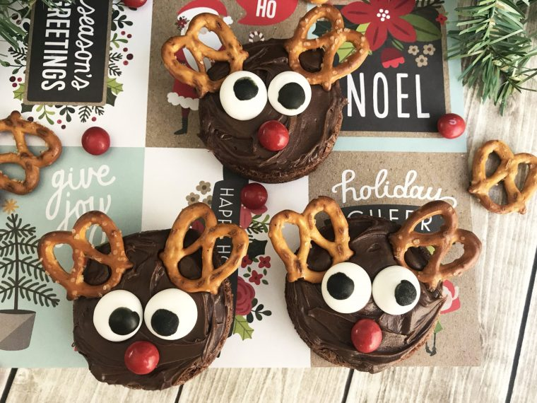 chocolate reindeer decorated brownies final feature image