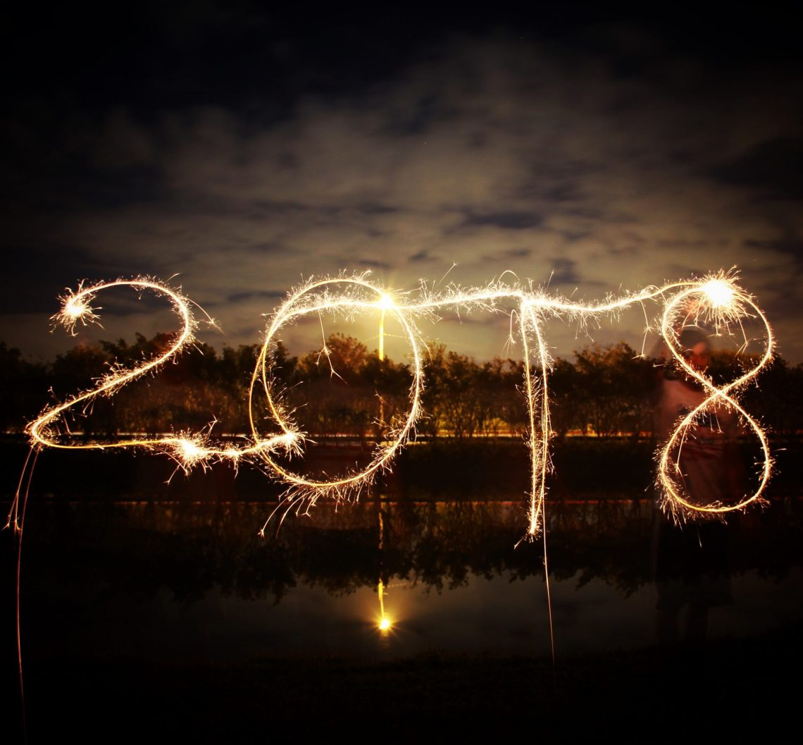 2018 in sparkler writing with dim background