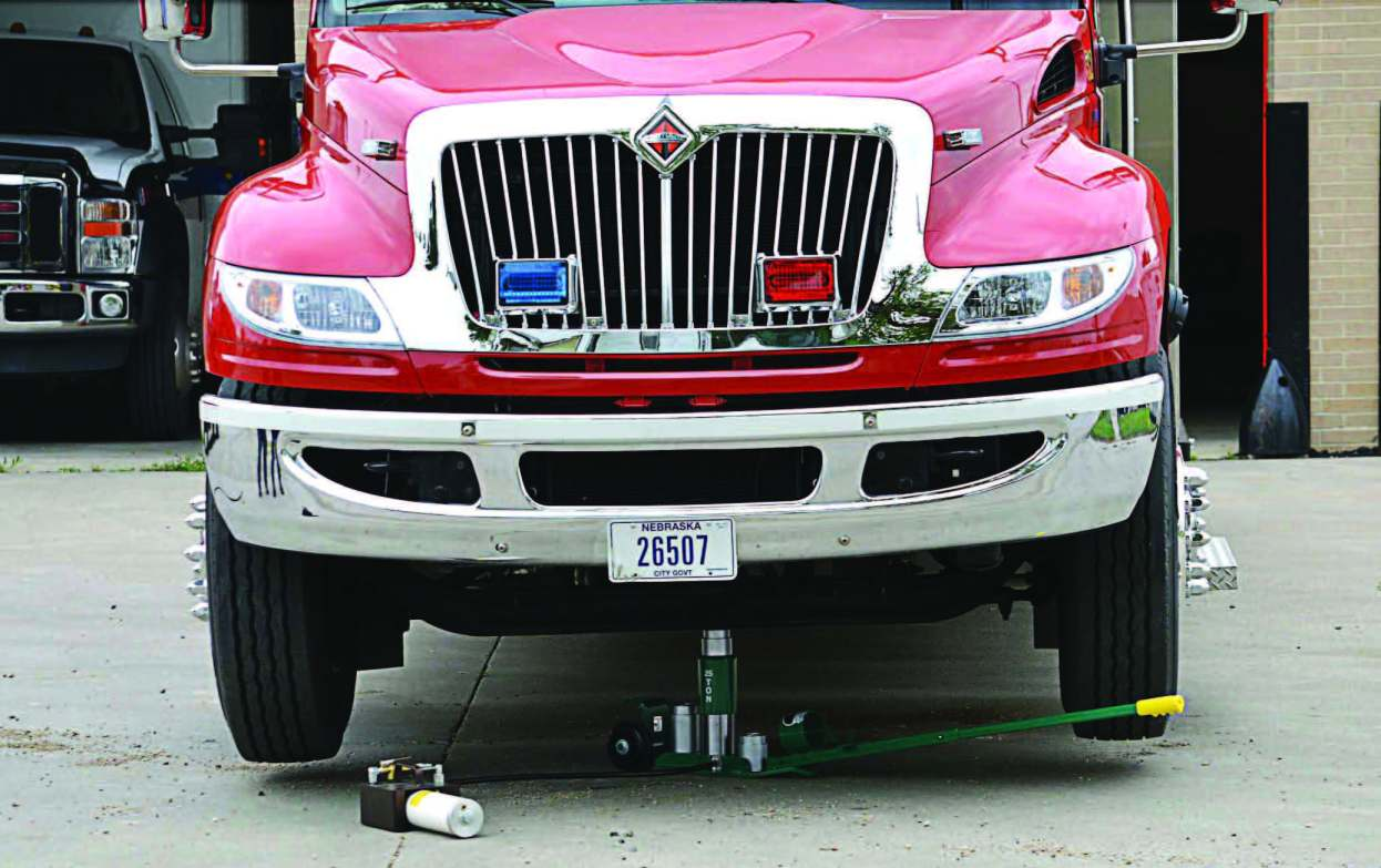 The Emerson Model 25 is seen here effortlessly lifting a fire truck. (Photo provided)