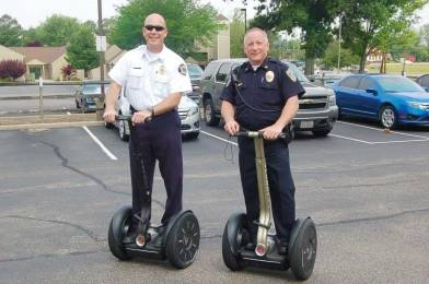 Blue Ash Fire Chief Rick Brown, left, and Hartinger test out their new Segways. (Photo provided)