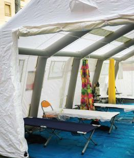 In the event of a disaster, temporary structures can be used for a variety of applications, including as an emergency medical center. (Shutterstock)