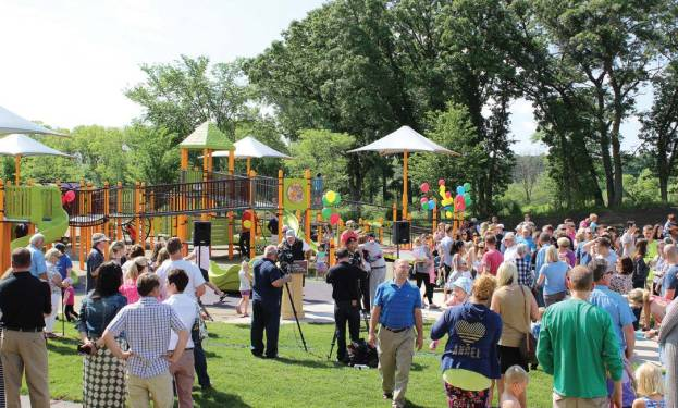 People gathered prior to the formal dedication ceremony for Madison's Place on June 4, 2016, in Woodbury, Minn. (Provided by city of Woodbury)