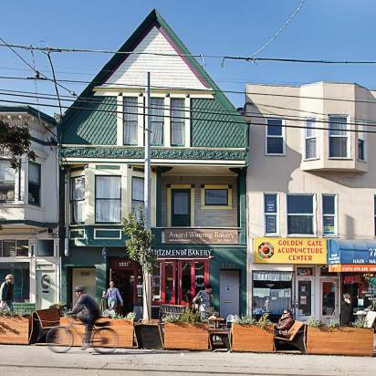 San Francisco launched the parklet movement and now has several, which are hosted by local nonprofits, small businesses, neighborhood groups and others. Pictured is its 1331 Ninth Ave. parklet that Arizmendi Bakery hosts.