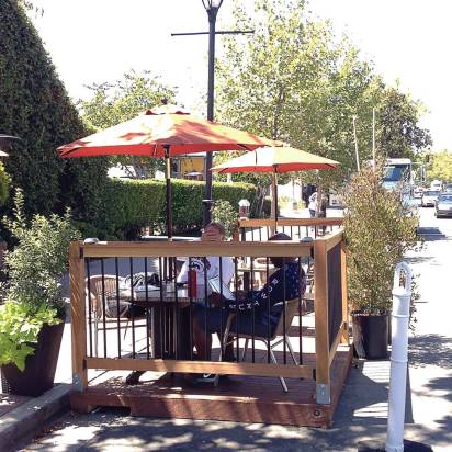 Lafayette's two parklets were started on a four-month trial; halfway through that trial period in August, a community survey found that 53 percent of respondents were supportive of the parklets. (Photo provided)