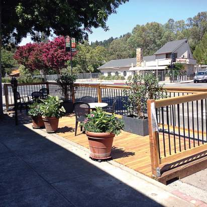 Pictured is one of Lafayette, Calif.'s parklets, both of which have been positioned near local restaurants, providing roadside eating for city residents. (Photo provided)